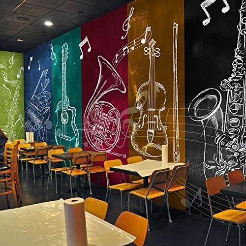 Retro Rockband Charakter Wandbild KTV Box Bar Hintergrundbild Restaurant Tanzraum Vliestapete Tapete 3d wandbild tapeten vintage Moderne Hintergrundbild-300cm×210cm
