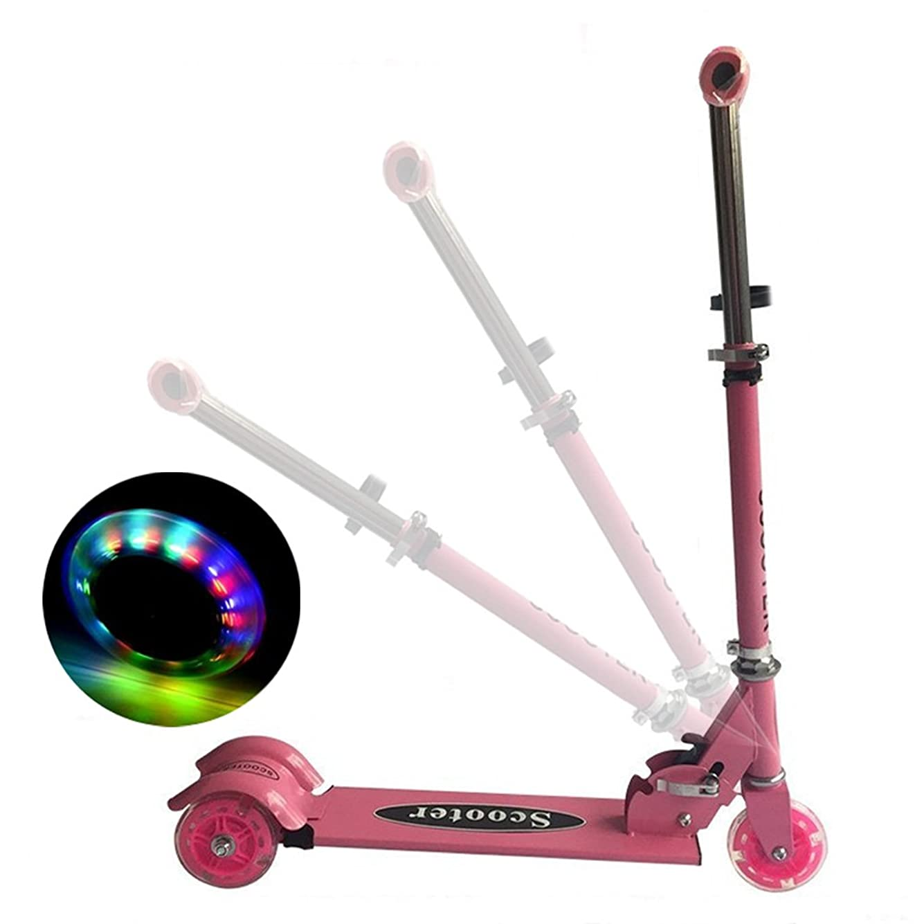 商品交通ハチSanato 3輪式キックスクーター こども キックボード 光るタイヤ 3段階調節可 折りたたみ式 ピンク