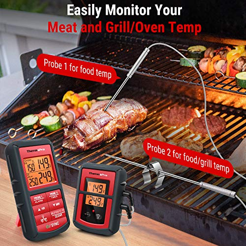 ThermoPro 500FT Wireless Meat Thermometer for Grilling Smoker BBQ Food Thermometer with Dual Probe Digital Oven Kitchen Cooking Thermometer