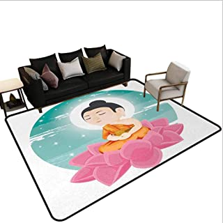 Bedroom Carpet Illustration Image of a Lotus Floral Flower Meditating with Moon Light Sage Art Print Kids Rug Area Multicolor 7'6x7'6