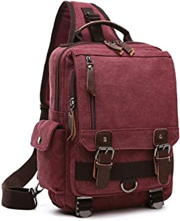 Bageek Mens Chest Pack Canvas Casual Shoulder Bag Outdoor Sports Sling Bag (Red)