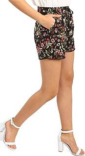 Shyla by FBB Paisley Print Shorts with Lace Hem-Women-Black-X-Small