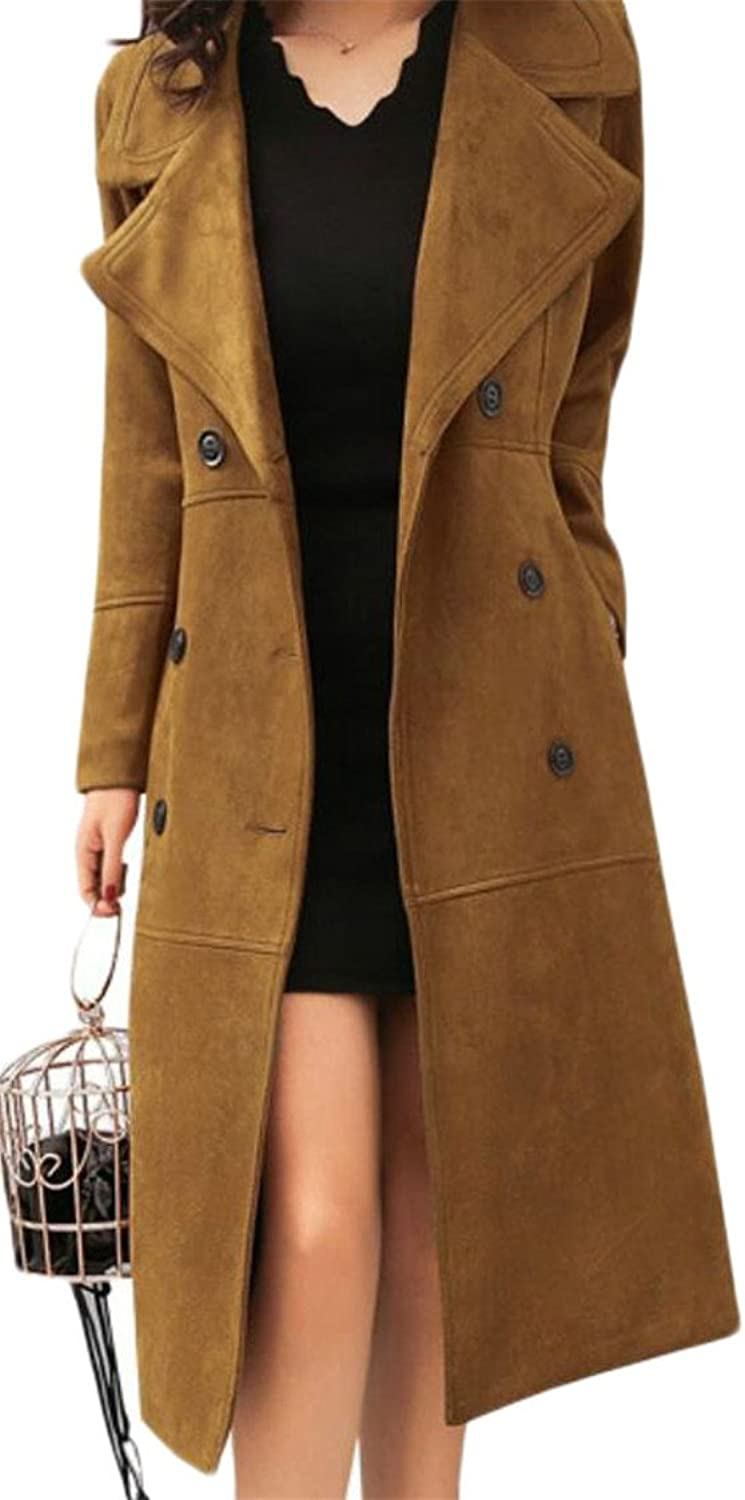 Desolateness Women's Slim Lapel Suede Self Tie Duster Jacket Trench Coat Cardigan With Pockets