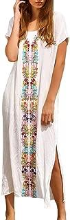 Beach Swimwear Loose Maxi Embroidered Kaftan Casual Short Sleeve Long Dress Zulmaliu
