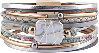 Womens Leather Cuff Bracelet Baroque Pearl Wrap Bracelets...