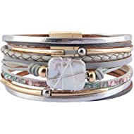 AZORA Leather Cuff Bracelet Multi Rope Wrap Bangle with Pearl Metallic Heart Cuffs Bracelets for...