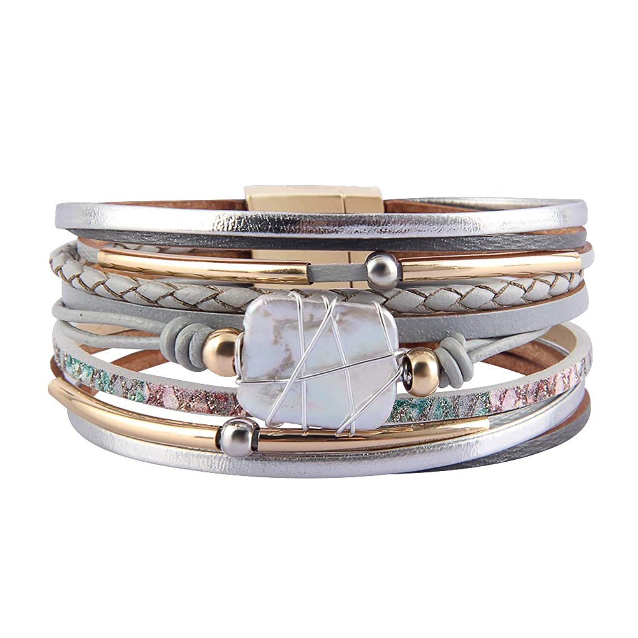 AZORA Leather Cuff Bracelet Multi Rope Wrap Bangle with Pearl Metallic Heart Cuffs Bracelets for Women Teen Girl Gift