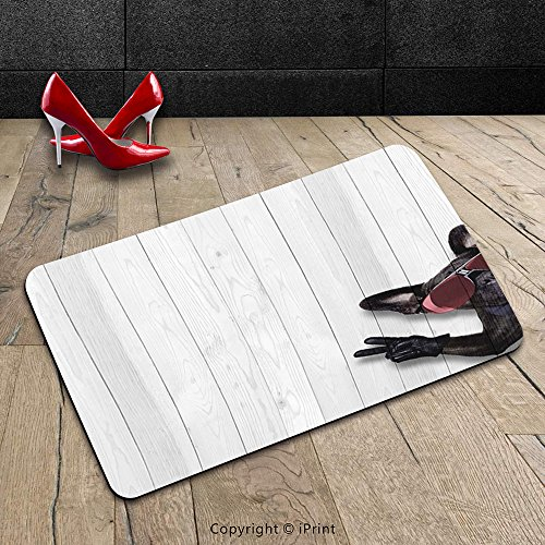 Custom Machine-washable Door Mat Animal Decor Cool Husky Dog with Sunglasses Making Peace Sign with Paws Art Print Light Grey Black Indoor/Outdoor Doormat Mat Rug Carpet