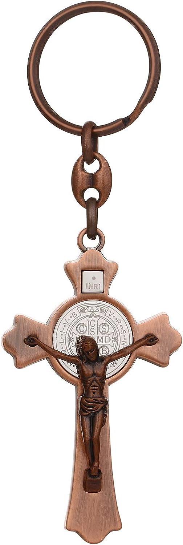 Cottvott Saint Benedict Medal Cross Keychain Catholic Crucifix Jesus Keyring Holder for Men