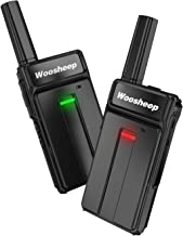 Woosheep Ultra Slim Long Range Two-Way Radios with Earpiece 2 Pack Portable Ultra-Thin UHF 400-470Mhz Rechargeable Walkie Talkies Li-ion Battery and Charger Included