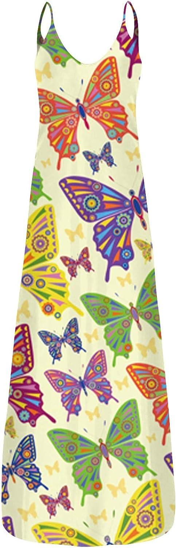 Tavorpt Maxi Dresses for Women Casual, Women's Fashion Deep V Sling Long Dress with Pockets Beach Sundress Party Dress