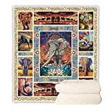 BEDBLK Bohemian Elephant Sherpa Blanket Cozy Warm Fleece Plush Throw Blanket for Adult and Kids Bed Couch Sofa Travel Office Nap Quilt (Elephant-1, 60'' x 50'')