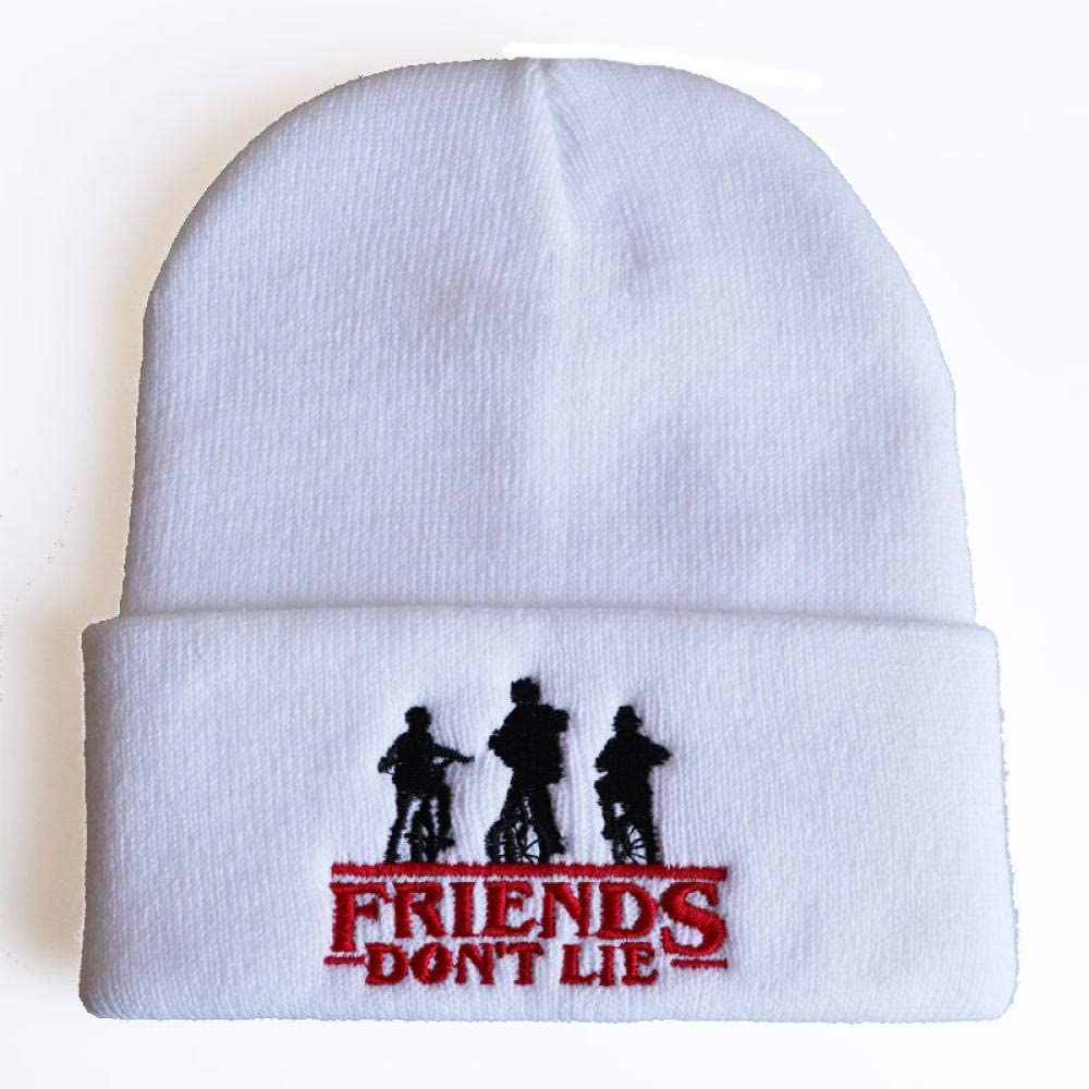 Choses /étranges Les Amis ne mentent Pas Chapeau de Laine Chapeau dhiver Stranger Things Broderie Bonnet tricot/é r/églable