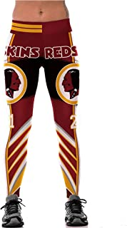Women's High Waist 3D Digital Print Casual Fashion Red Skins Design Rugby Team Tight Legging Pants