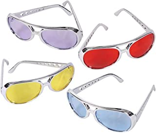 Adult Colorful Lens Aviator Rock Star Sunglasses (12 Pack) Funky Costume Glasses. Silver and Red, Purple, Yellow and Blue. Cool Colorful. Individually Packaged.