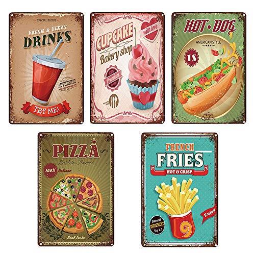 Vintage Metal estaño carteles hogar cocina decoración comida rápida menú bocadillos pan pared arte cartel café casa cartel familiar,A