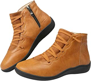 Harence Booties for Women Side Zipper Leather Boots Comfortable Ankle Boots Outdoor Anti-Slip Waterproof Flats Shoes