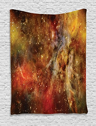 Ambesonne Space Decorations Collection, Nebula in Deep Outer Space with Star Clusters Astro Lights Galaxy Universe, Bedroom Living Room Dorm Wall Hanging Tapestry, Black Orange Yellow