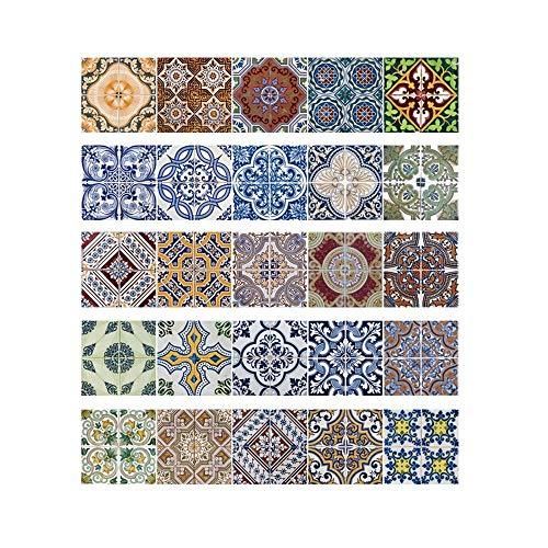 Decorativos Adhesivos para Azulejos Pegatina de Pared - Estilo arabe Cenefa Autoadhesivo- para Baño y Cocina - 20cmx20cmx25 pcs