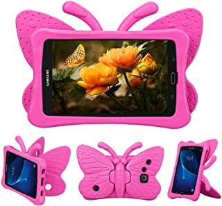 Tading Kids Case for Samsung Galaxy Tab A 7.0, Children Friendly Lightweight and Shockproof EVA Foam Full Protection Stand Cover for SM T280 T285 (Not Fit SM Tab A10.1/9.7/8.0) - Cute Butterfly/Rose
