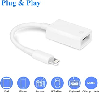VELLEE Upgraded USB Camera Adapter, USB Female OTG Data Sync Cable Compatible with iPhone/iPad, Support Card Reader, Keyboard, Mouse, USB Flash Drive, Hubs, MIDI (Support iOS 9.2-13+)