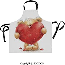 SCOCICI Fabric Durable Unisex Apron with 2 Pockets-Extra Long Ties, Valentines Day Inspired Sweet Teddy Bear Holding a Big Red Heart Love Romance Decorative,Home Baking or Kitchen Cooking