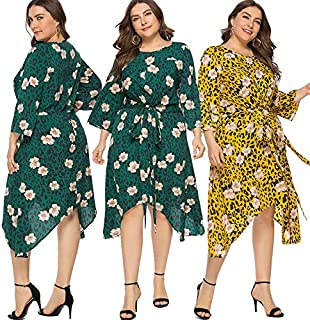 Extaum Women Plus Size Leopard Floral Print Dress 3/4 Sleeves Tied Waist Asymmetrical Boho Casual Dress