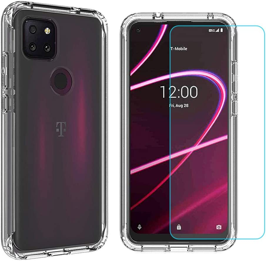 Ytaland Case for T-Mobile (Revvl 5G),with Tempered Glass Screen Protector. (2 in 1) Crystal Clear Soft Silicone Shockproof TPU Transparent Bumper Protective Phone Case Cover