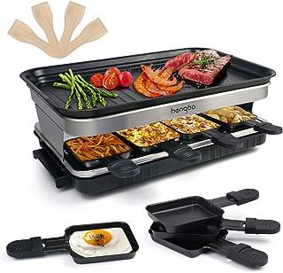 Raclette Appareil Raclette Grill 4 6 8 Personnes Machine Fondue Electrique Raclettes 1500 W avec Anti-adhésives de Poignée...