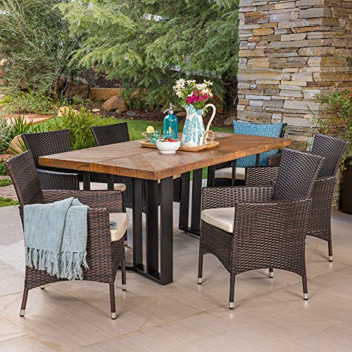 7-Piece Brown Contemporary Rectangle Outdoor Furniture Patio Dining Set - Beige Cushions