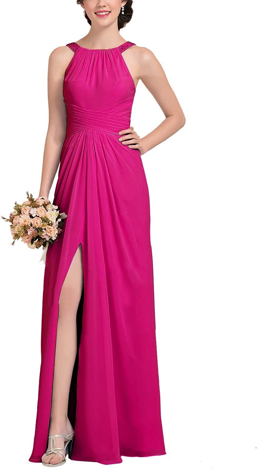 LiBridal Womens A line Halter Long Bridesmaid Dress Slit Backless Beaded Homecoming