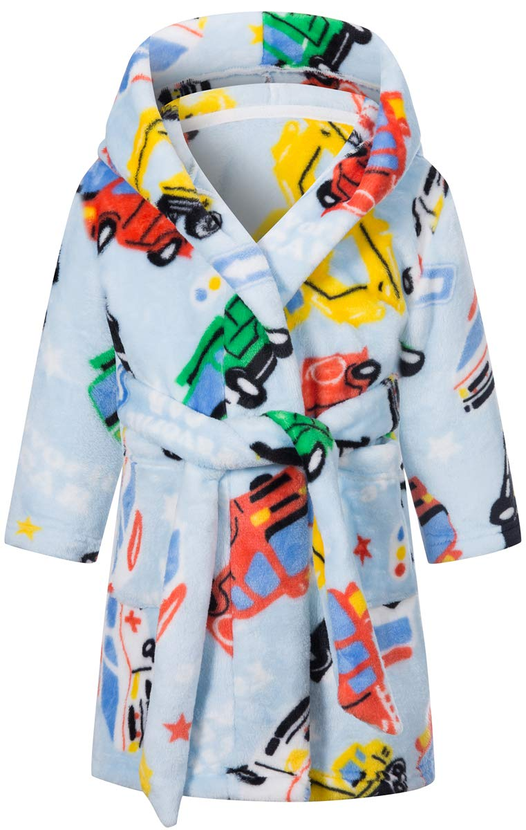 Image of Blue Hooded Cars and Trucks Bath Robe for Toddler Boys and Boys
