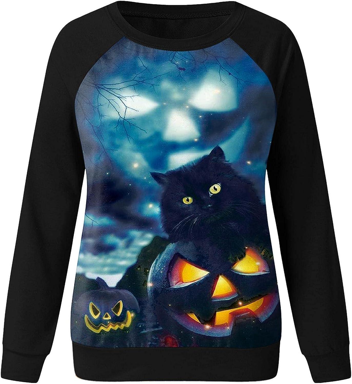 Womens Hoodies Pullover,Pumpkin Print Halloween Skull Long Sleeve Pullover Tops Lightweight Sweatshirt