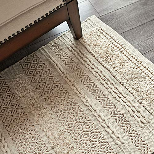 MOTINI Tufted Cotton Area Rug 3' x 5', Hand Woven Knotted Bohemian Gold Metallic Accent Rug, Beige Cream Flatweave Diamond Geometric Area Rug for Living Room Bedroom