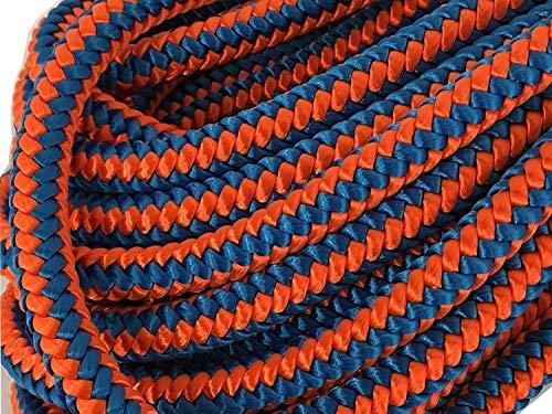 12 Strand Arborist Polyester Rope 1/2 inch by 150 feet Blue Orange