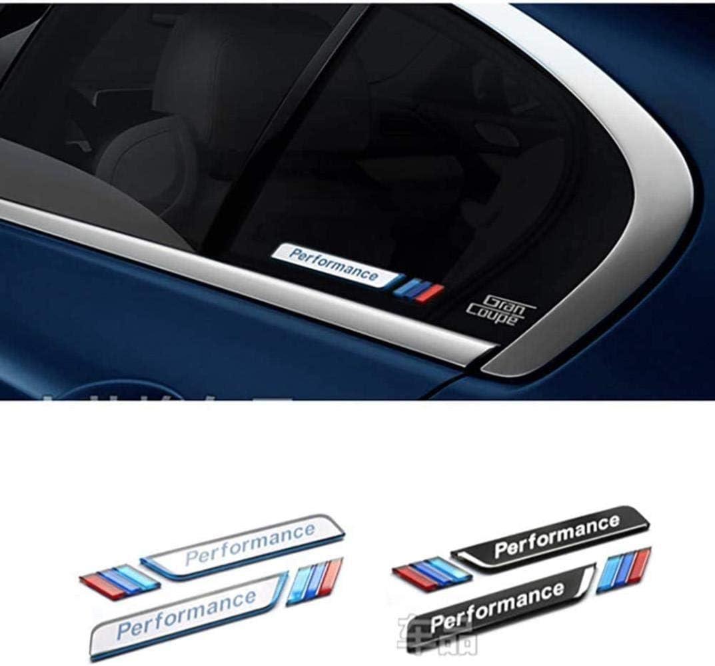 Izquierda Y Derecha ZFXNB Ventana De Coche 3D Decorativo M Emblema Etiqueta Estilo De Coche para BMW E90 F30 F10 E46 E36 2 Piezas//Juego Plateado Negro