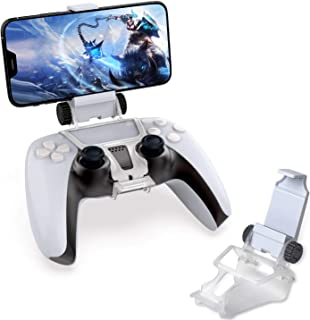 PS5 Controller Phone Clip Mount Holder, Mobile Phone Clamp Bracket Holder with Adjustable Stand Compatible with Playstatio...