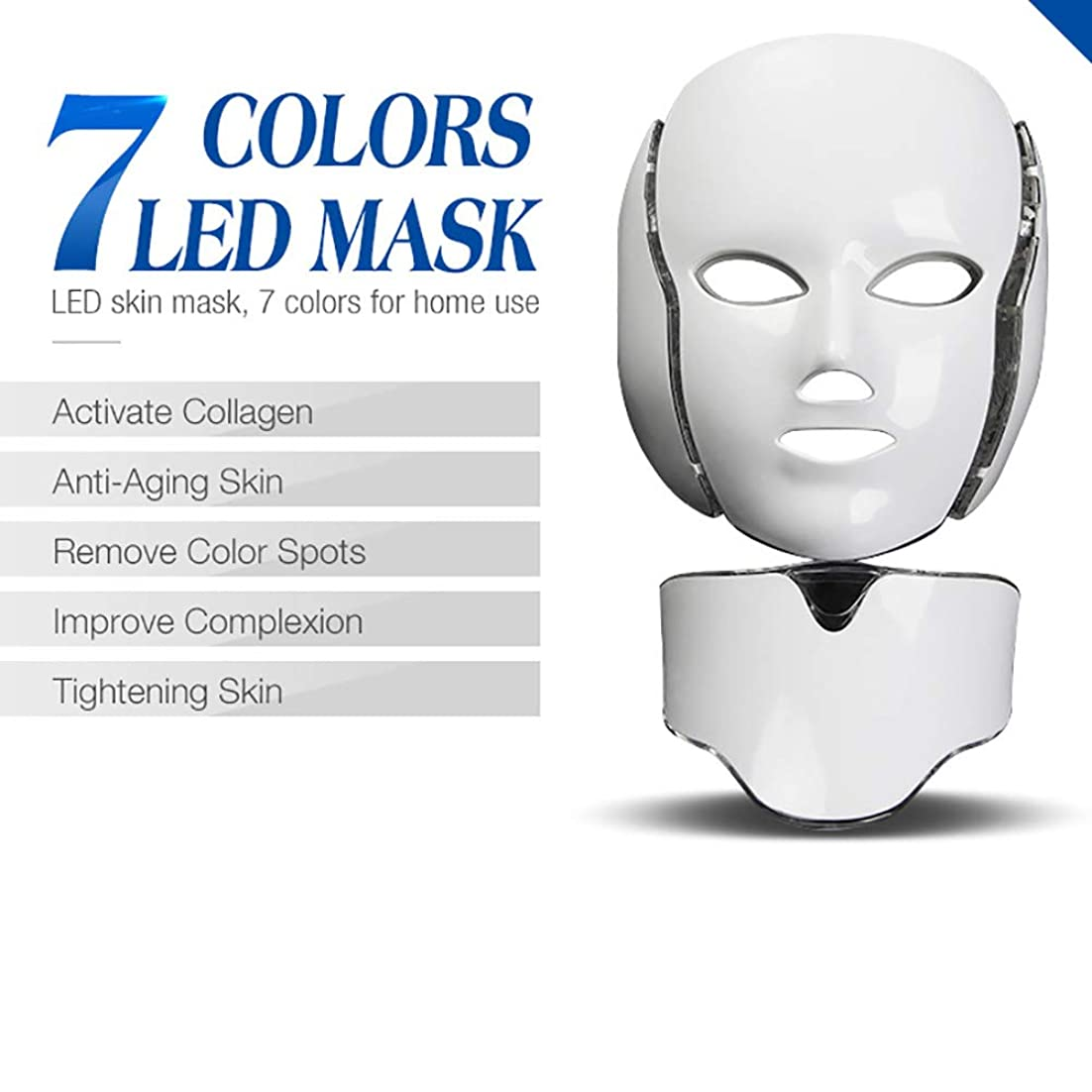 申し立てる血色の良い楽しむ7色ledフェイスマスク、7色電気ledフェイシャルマスク付きネック肌の若返り抗にきびシワ美容トリートメントサロンホームユース