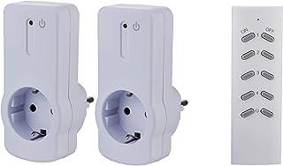 ZEYUN Enchufes Inalámbricos con control remoto (2+1) para interiores, 3680 vatios, alcance 30 m, con Control Remoto, Blanc...