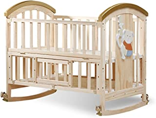 Baby Bassinet 2-Tier Solid Wood Crib Without Paint Adjustable Height Variable Desk Cradle Multifunction Toddler Bed Newborn Baby Lounger Portable Color Natural Size 106 64 98cm