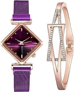 Púrpura Mujer Moda Simple y Elegante Reloj de Pulsera con Pulsera Regalo de cumpleaños Regalo de San Valentín Púrpura
