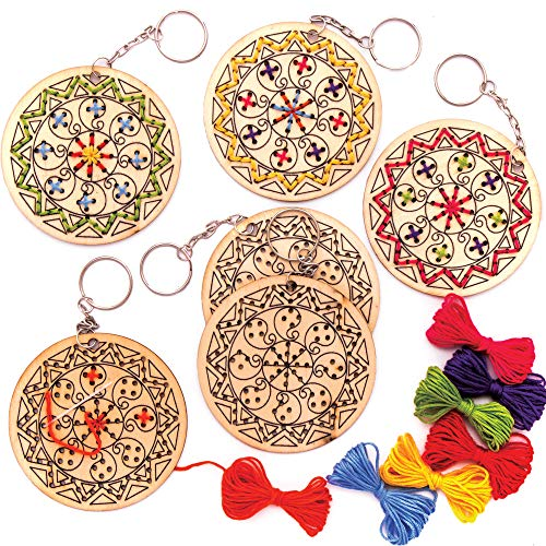 Baker Ross AW984 Rangoli Wooden Cross Stitch Keyring Kits (Pack of 5) -Arts and Crafts for Kids, Assorted