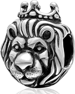 King Lion Charm 925 Sterling Silver Animal Charm Lucky Charm Halloween Charm for Bracelet (A)
