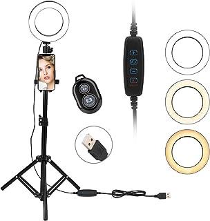 "AMONIDA LED Ring Light, 6"" Ring Light, Adjustable Tripod Stand, Clip, Remote Control, Lighting Kit for Makeup, Photograph..."