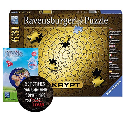 Ravensburger Erwachsenenpuzzle 151523 Krypt Gold-Erwachsenenpuzzle + Cooler Sticker Sometimes You Win.. und 3D Puzzle
