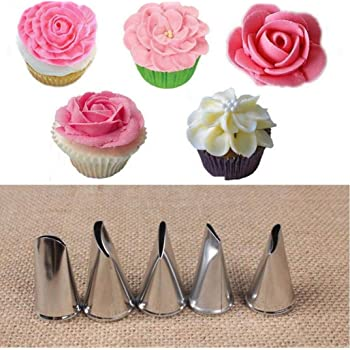 8 pcs Rose Petal Metal Cream Tips Cake Decorating Tools Steel Icing Piping Nozzl Other Baking Accessories Baking Accs. & Cake Decorating