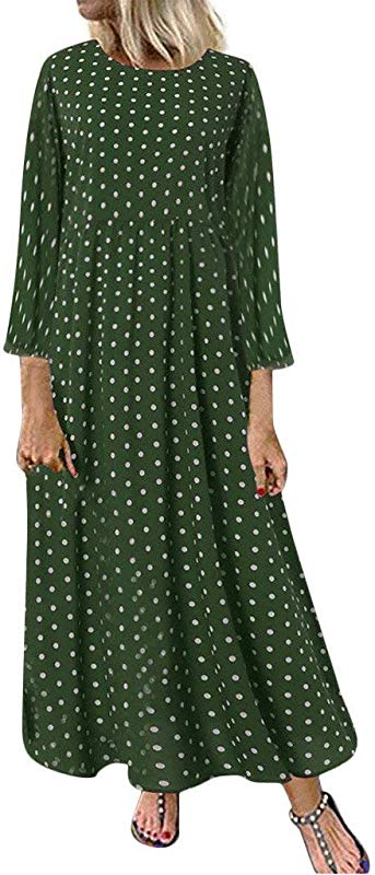 Jin Co Maxi Dresses For Women 2019 Vintage Printed O Neck Loose Casual Long Dress Beach Dress T Shirt Dress