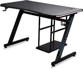 MY SIT Gaming Desk Bureau Gizmo met Kleur verandering LED-verlichting - Hoofdtelefoonhouder PC-houder en Bekerhouder - Kab...