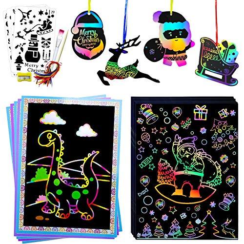 Hidreams 80 PCS Christmas Scratch Art Set Rainbow Magic Scratch Paper Art Set for Kids Adults,...