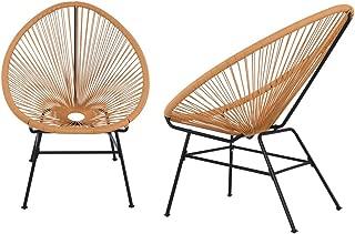 Acapulco Sun Chair Bistro Set Indoor Outdoor All-Weather Oval Weave Lounge Patio Papasan Chair (2 Piece Set, Orange)